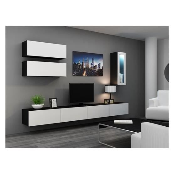 meuble tv design suspendu bini noir et blanc achat vente meuble tv meuble tv bini nr bl. Black Bedroom Furniture Sets. Home Design Ideas