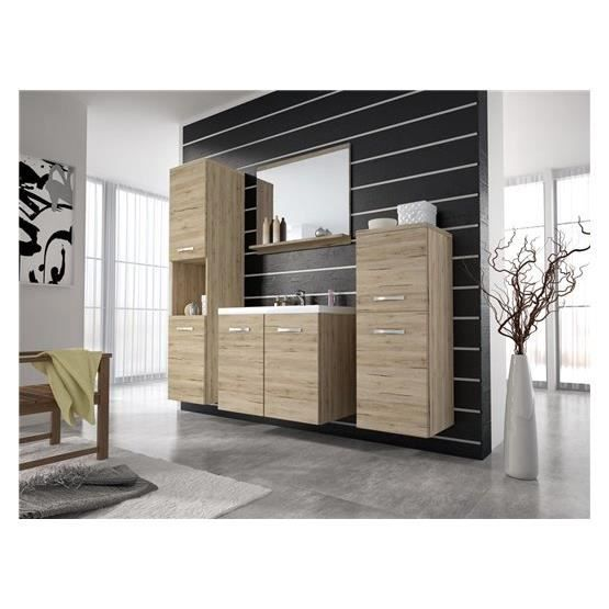 ensemble salle de bain janys bois clair et blanc composition achat vente ensemble meuble. Black Bedroom Furniture Sets. Home Design Ideas