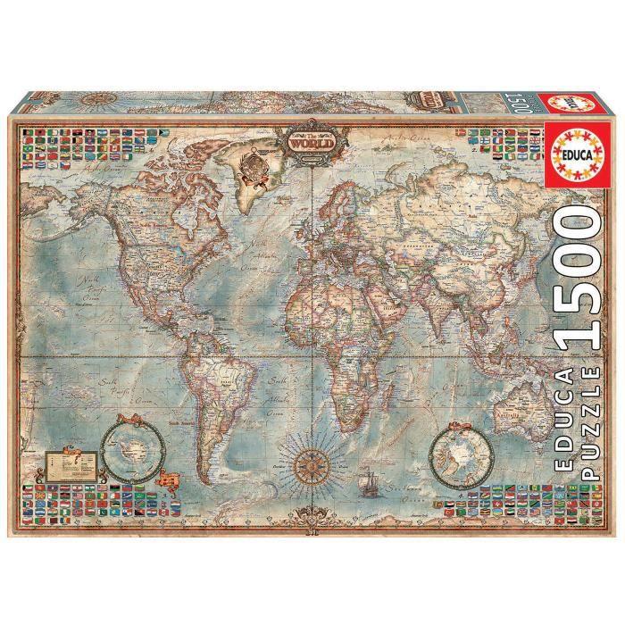 PUZZLE EDUCA Puzzle 1500 Pièces - Le Monde, Carte Politiq
