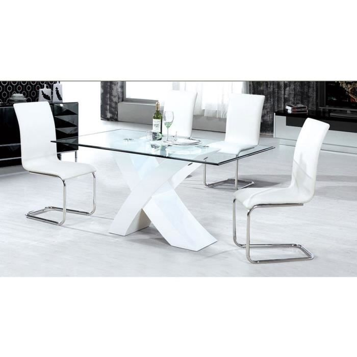 table repas mona 150 x 90 x 75 cm blanc achat. Black Bedroom Furniture Sets. Home Design Ideas