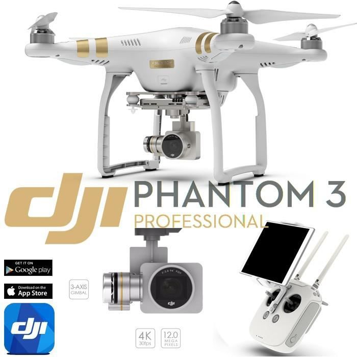 dji phantom 3 professionnal avec camera 4k lightbridge et retour fpv en hd rtf achat. Black Bedroom Furniture Sets. Home Design Ideas
