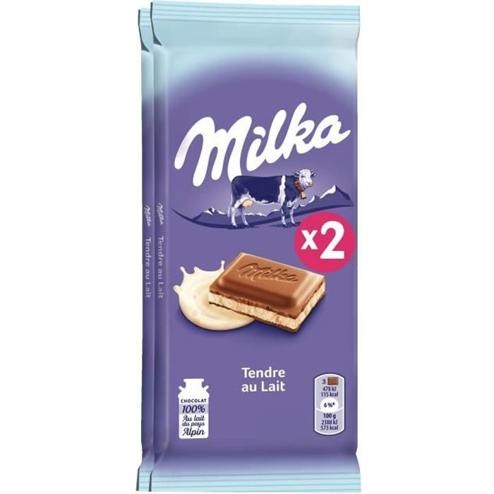 milka tablette de chocolat tendre au lait 2x100g achat vente chocolat lait milka tendre au. Black Bedroom Furniture Sets. Home Design Ideas