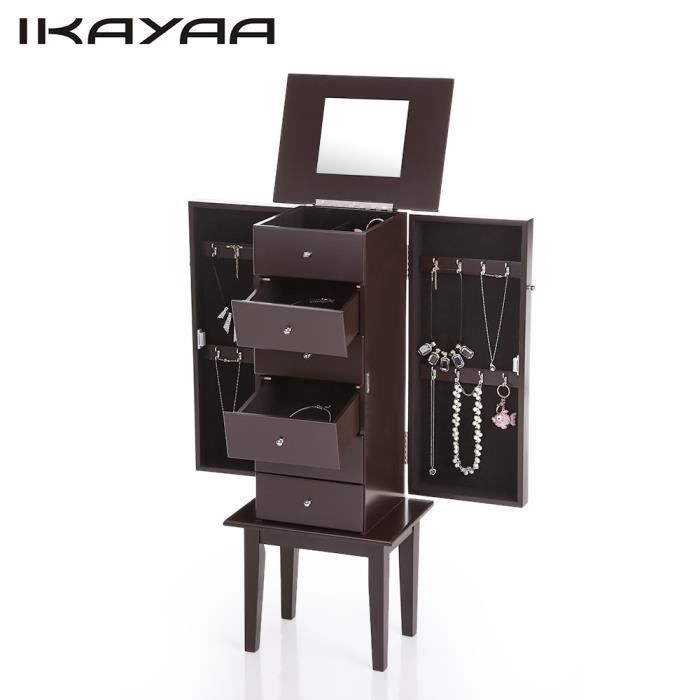 ikayaa armoire bijoux sur pied avec miroir cabinet bo te. Black Bedroom Furniture Sets. Home Design Ideas