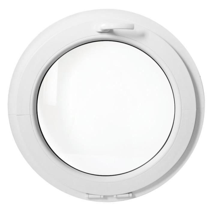 fenêtre ronde à soufflet 80 cm blanche pvc oeil de boeuf