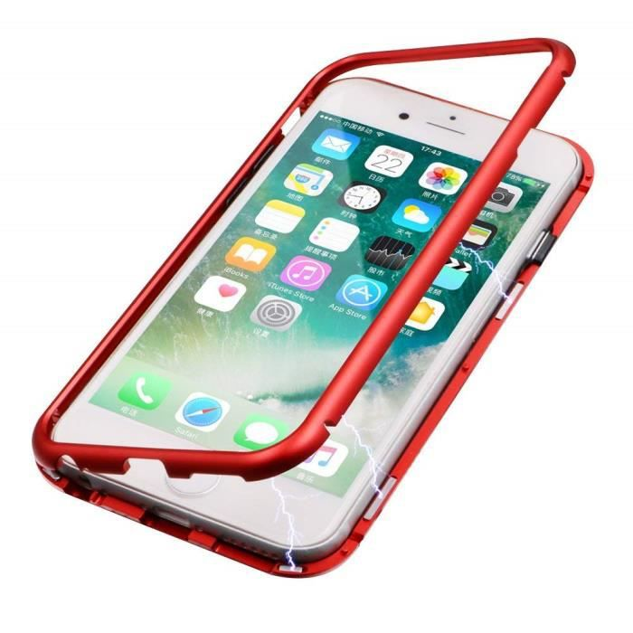 welkoo r coque iphone 7 8 rouge magnetique prote