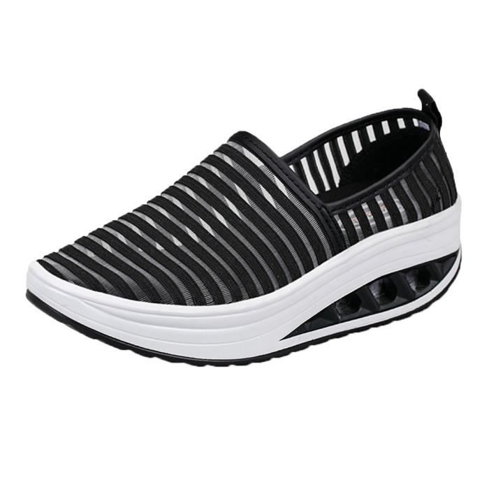 Femmes Fitness Chaussures Casual Chaussures de sport Chaussures Mesh Shake Lady plate-forme espadrille@Noir