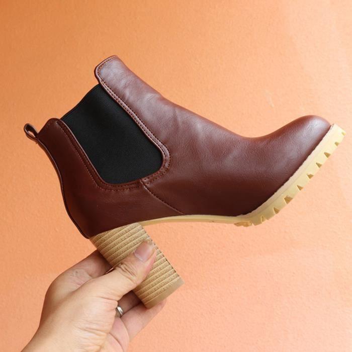 Mode pour femmes haut Chaussures à talon bande élastique Grande Taille courte Bottes d'hiver Nouveau marron