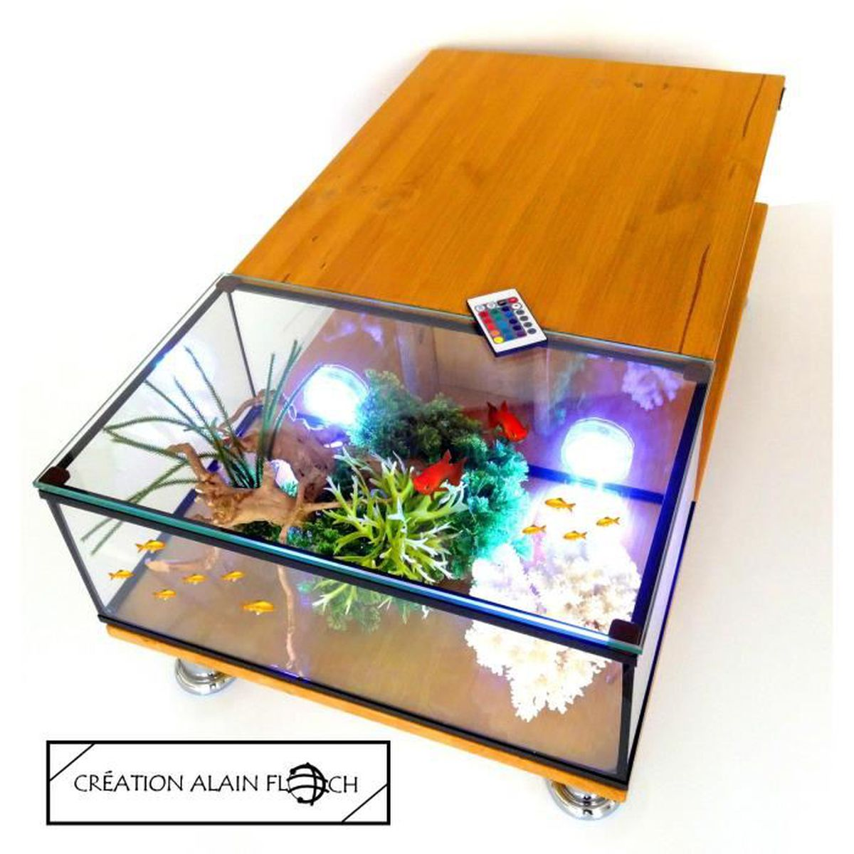 table basse aquarium annarousse 20 led design unique alain floch sans fil 16 couleurs avec. Black Bedroom Furniture Sets. Home Design Ideas