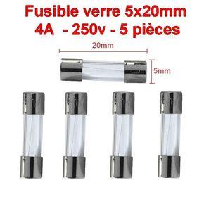 Aerzetix Lot de 10 fusibles semi-lents semi-retard/és semi-temporis/és en verre 2cm 20mm 5mm 5x20mm 220V 250V 0.250A 250mA