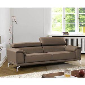 CANAPÉ - SOFA - DIVAN Canapé marron 3 places design en simili cuir haute
