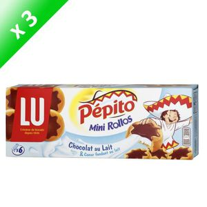 BISCUITS SECS Lot de 3 LU PEPITO Mini rollos au chocolat au lait