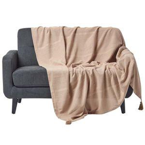JETÉE DE LIT - BOUTIS Jeté de lit ou de canapé - Rajput tissé main - Bei