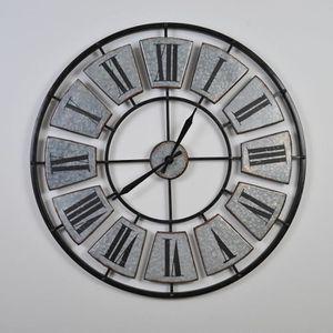 HORLOGE - PENDULE CLOCK Horloge murale industrielle - Argenté et noi