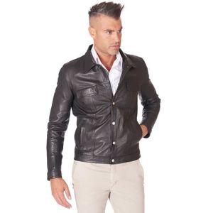 BLOUSON Blouson cuir homme style biker cuir d'agneau
