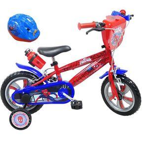 VÉLO ENFANT Vélo 12'' SPIDERMAN avec 2 Freins, Bidon & Porte B
