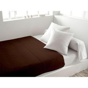 DRAP PLAT Drap plat coton 260x300 cm uni chocolat