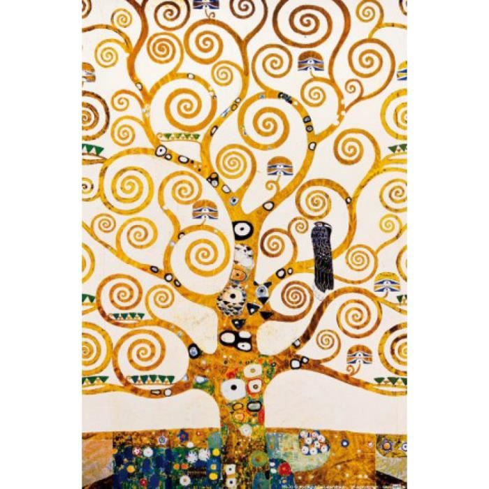 Gustav klimt poster reproduction l 39 arbre de vie d tail for Decoration murale arbre de vie