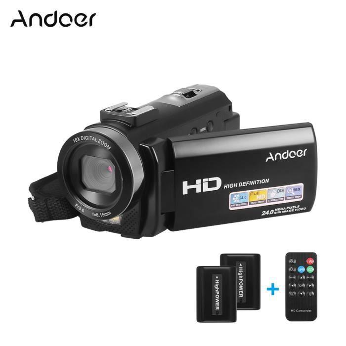 Andoer HDV-201LM 1080P FHD Caméscope numérique Caméscope Enregistreur DV Zoom numérique 24MP 16X Écran LCD 3,0 pouces avec piles