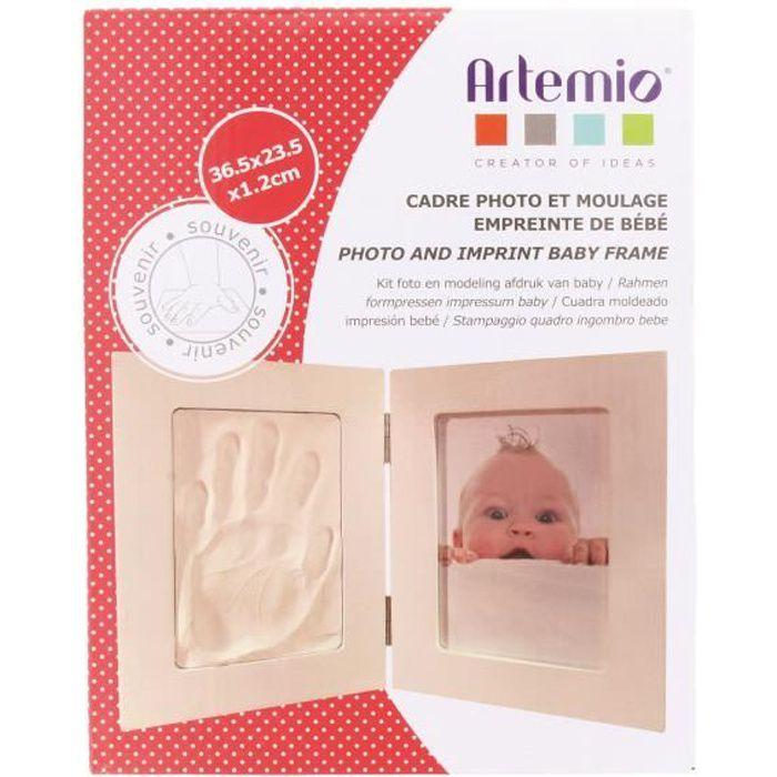 Kit moulage empreinte de bébé + Cadre photo 36,5 x 23,5 cm - Artémio Blanc