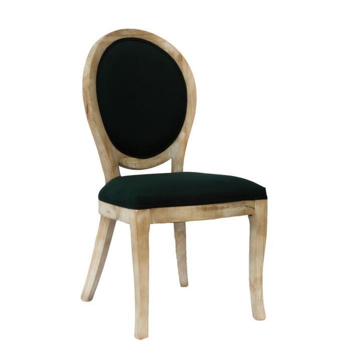 Chaise médaillon Cleon - Bois naturel - Bleu nuit