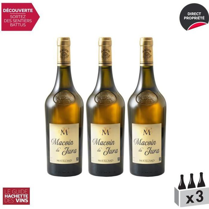Macvin du Jura Blanc - Lot de 3x75cl - Domaine Jean-Luc Mouillard - Vin AOC Blanc du Jura - Sélection 2020 Guide Hachette - Cépage