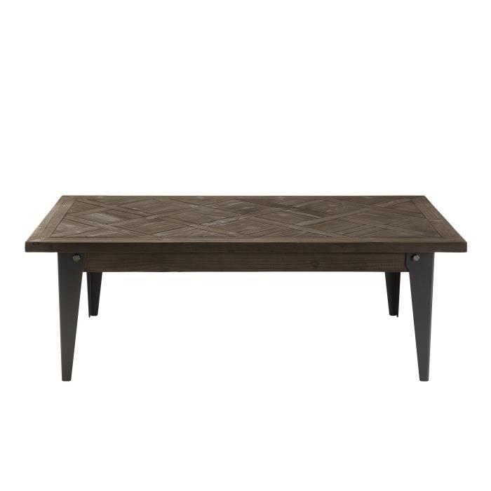 Table basse bois 120x65cm plateau Sapin marqueté pieds métal