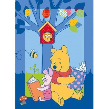 WINNIE L'OURSON STORY Bleu 95x133, par Winnie, Tapis pour enfant