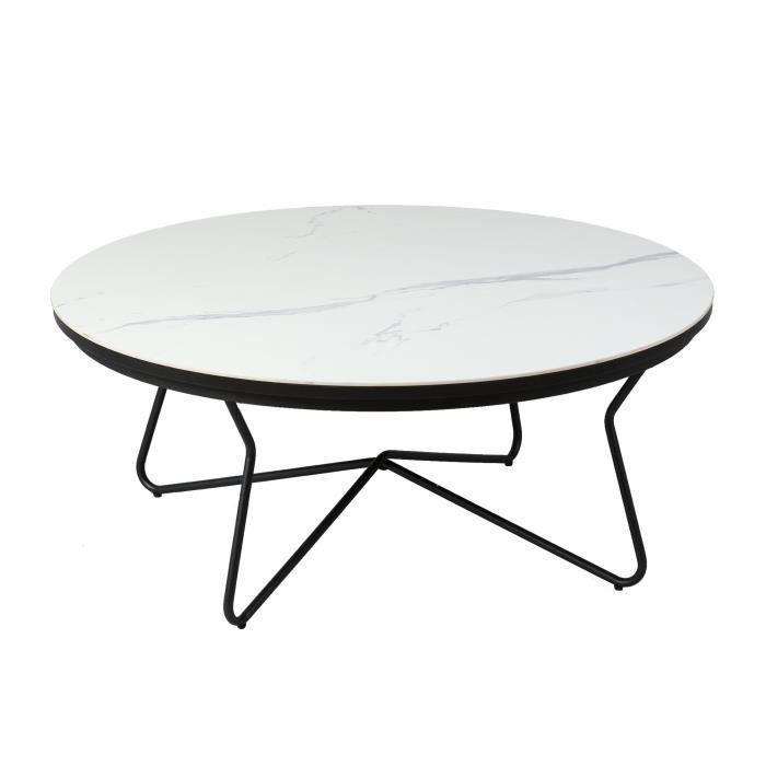 Table basse ronde 86 cm avec plateau en céramique blanc