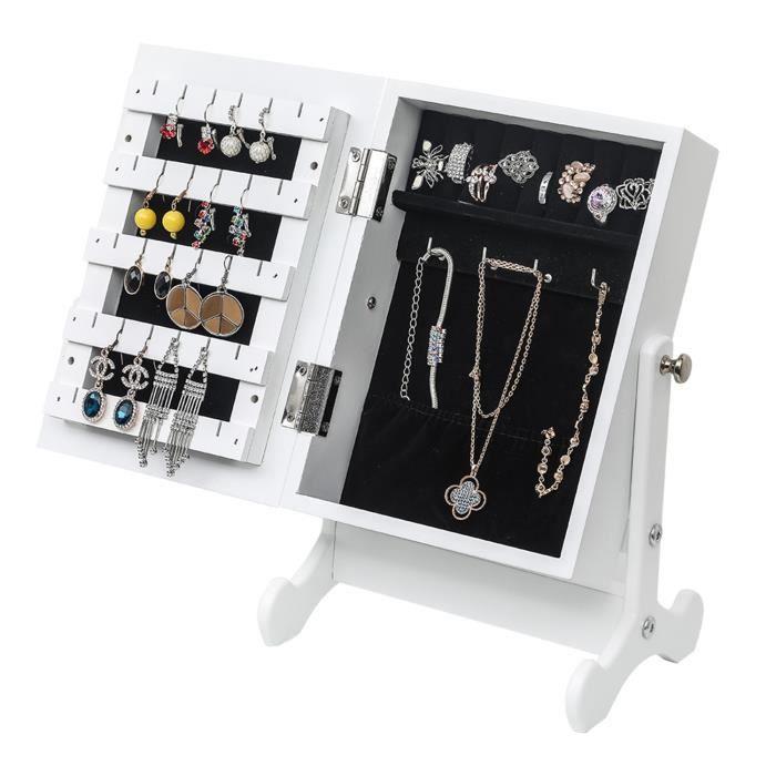 Petite armoire à bijoux,Miroir armoire de rangement avec support,Comptoir ,Blanc