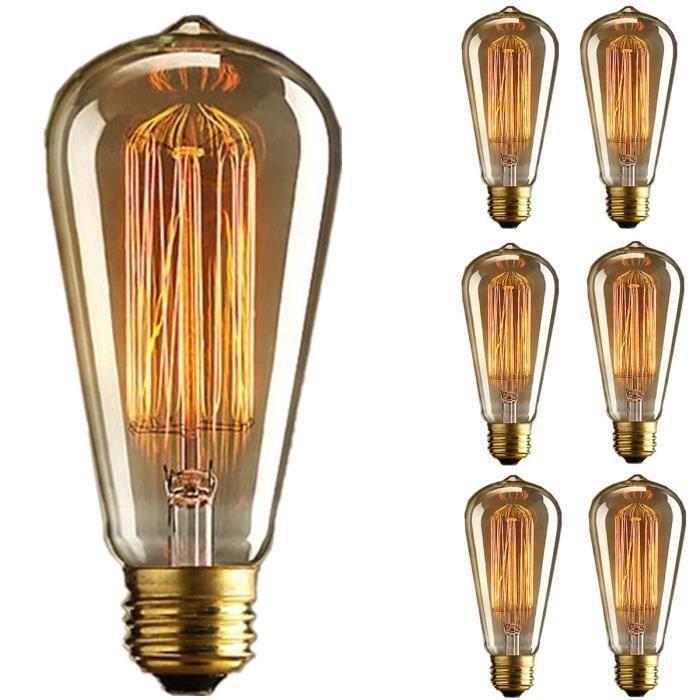 6x E27 60W Ampoule Edison Incandescent Bulb 220V ST64 Retro
