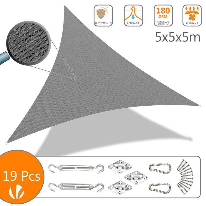 Voile d'ombrage Triangle Gris 5x5x5M avec Kit de montage
