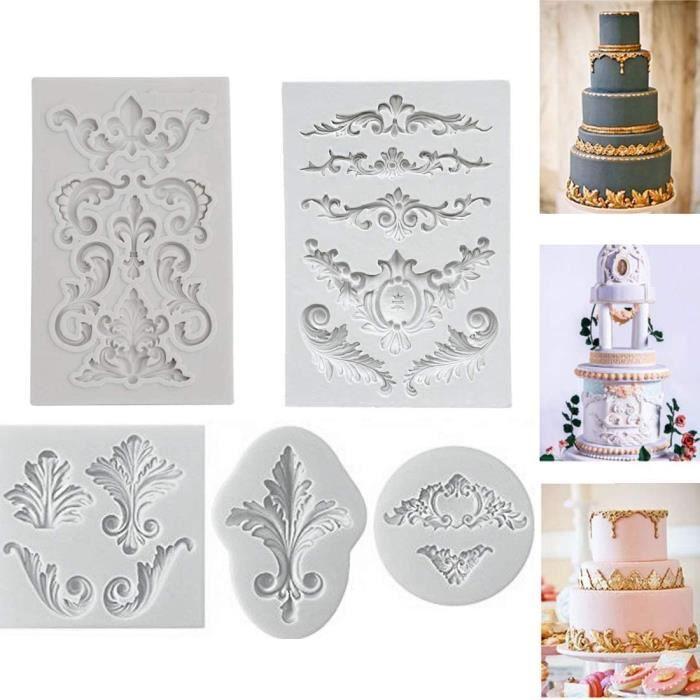 MOULE A GATEAU Relief Baroque Vintage Silicone Fondant Moule Dentelle Fleur Bordure Deacutecoration De Gacircteau Deacutecoratio291
