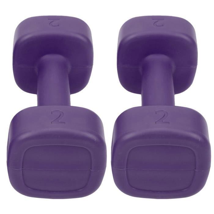 Sonew Petit haltère 2pcs Haltère 4lb Haltérophilie Fitness Équipement de Perte de Poids de Sport Yoga Musculation(Violet )