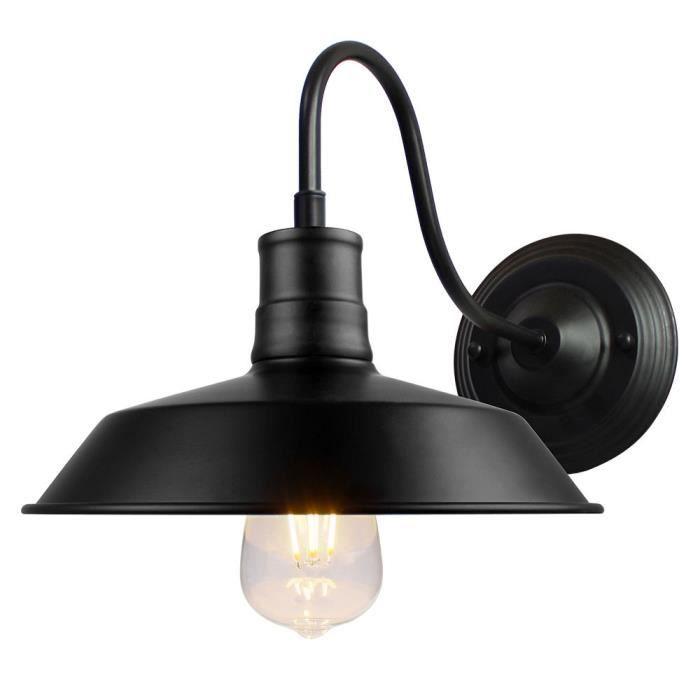 Fusion Applique Murale Noir Lampe en Métal Industrielle