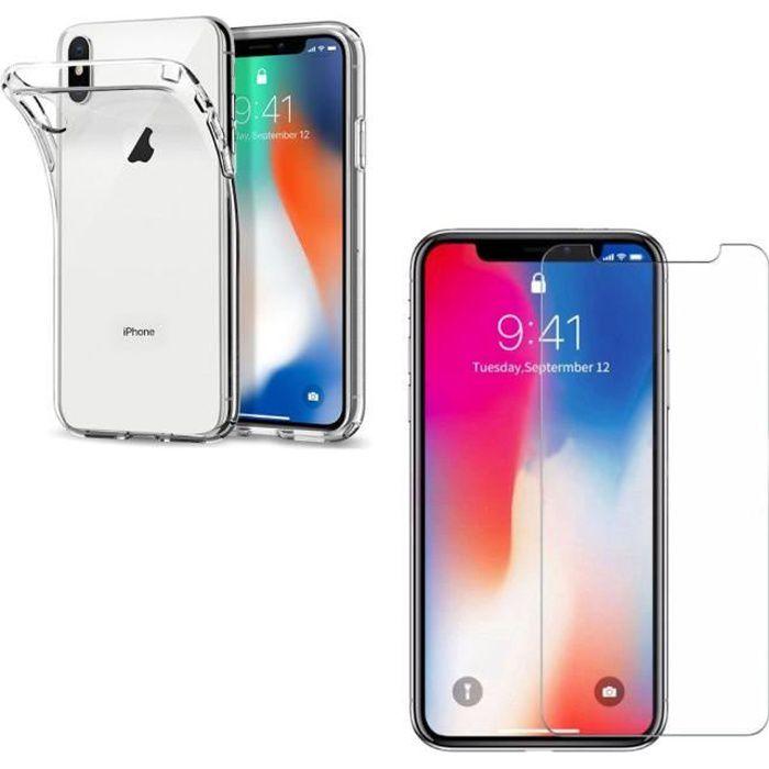 Coque silicone + film de protection plastique iPhone XS transparent souple