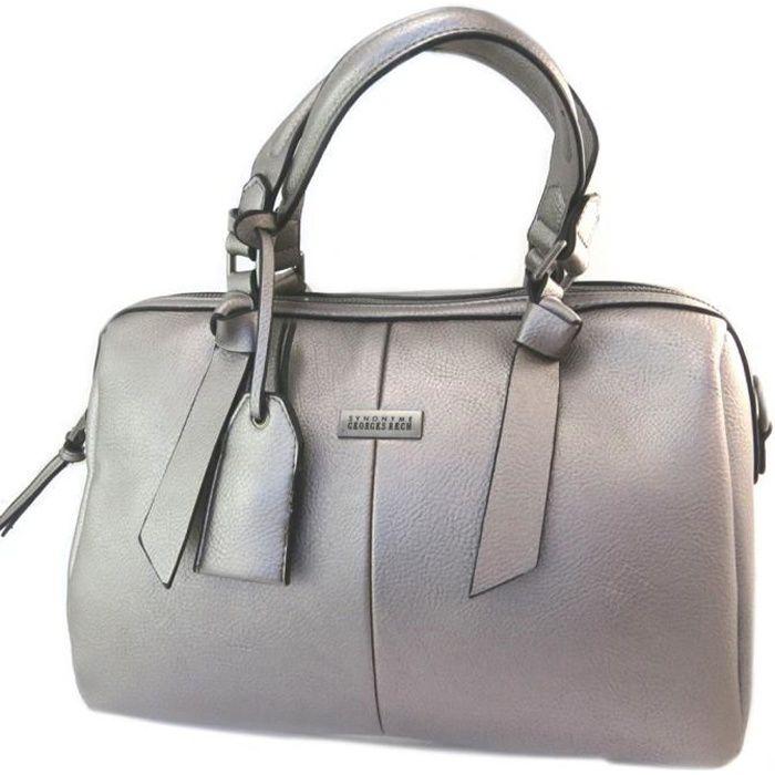 Sac créateur 'Georges Rech' gris métal - 34x22x17 cm [P2905]