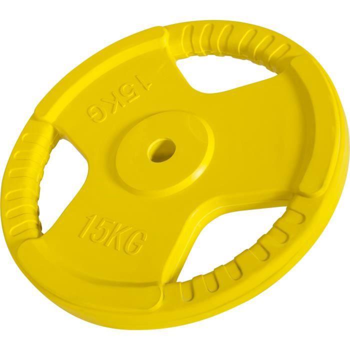 Disque de 15kg avec poignée 31mm en fonte revêtement caoutchouc