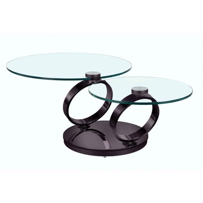 Table OLYMPE Ã plateaux pivotants en verre et piètement NOIR nickel noir Verre Inside75