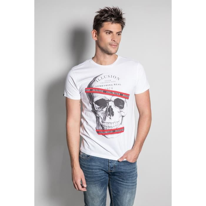 DEELUXE T-shirt photo tête de mort RUDY White