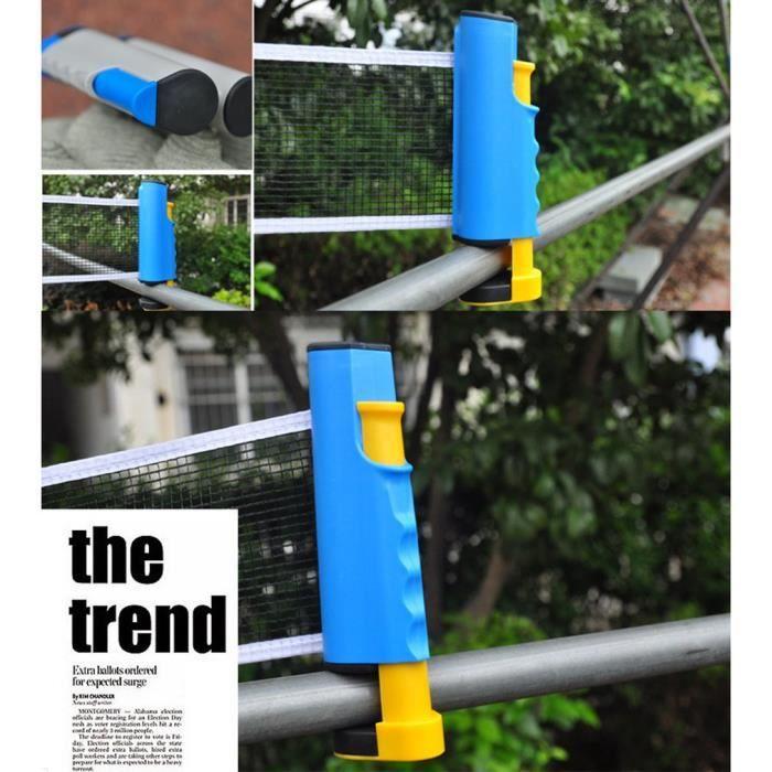 Filet de Ping Pong, Filet de Tennis de Table Rétractable pour Intérieur et Extérieur bleu jaune