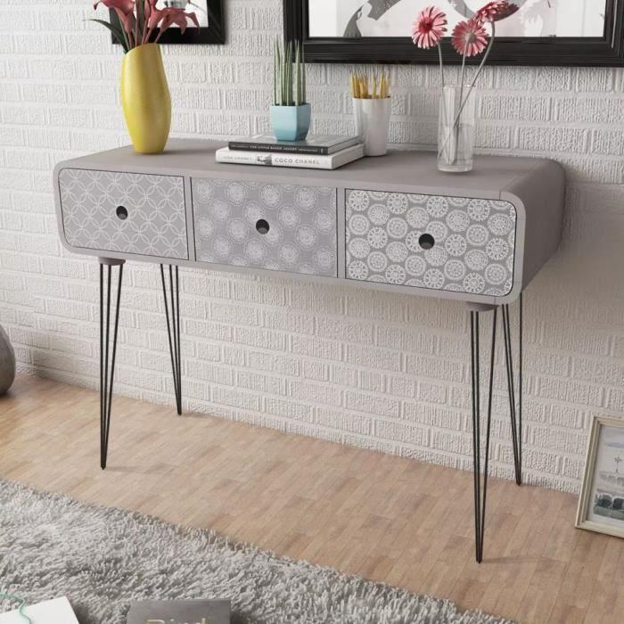 Table Console-Table d'entrée-Table de Salon avec 3 tiroirs Gris
