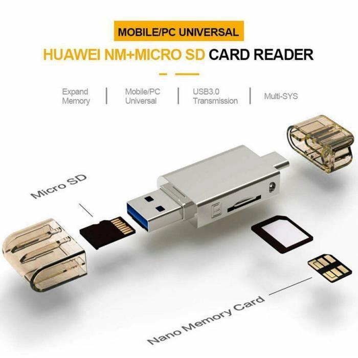 2 en 1 lecteur Type-C USB3.0 vers Micro-SD/NM Carte mémoire pour Mobile/PC Use Nano