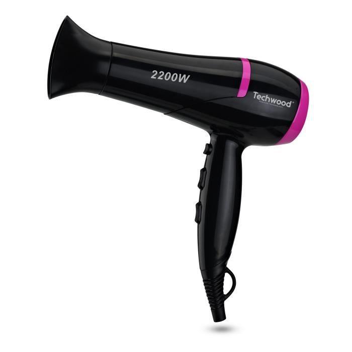 TECHWOOD TCO6074 Sèche-cheveux Professionnel + 3 brosses - Noir et Rose