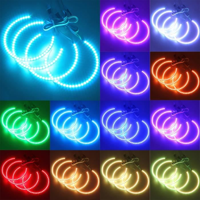 4x ANGEL EYES 5050 LED RGB Ring Feux Lampe Remote Pour BMW E36 E38 E39 E46 M3 NF