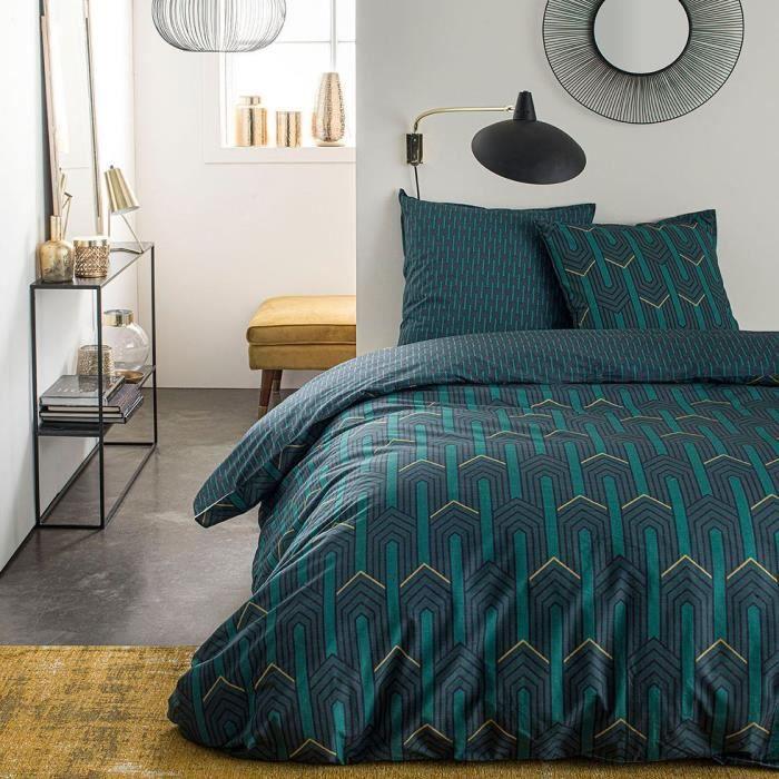 TODAY Parure de lit SUNSHINE 5.36 - 2 personnes - 240 x 260 cm coton - Imprimé Vert Graphique TODAY
