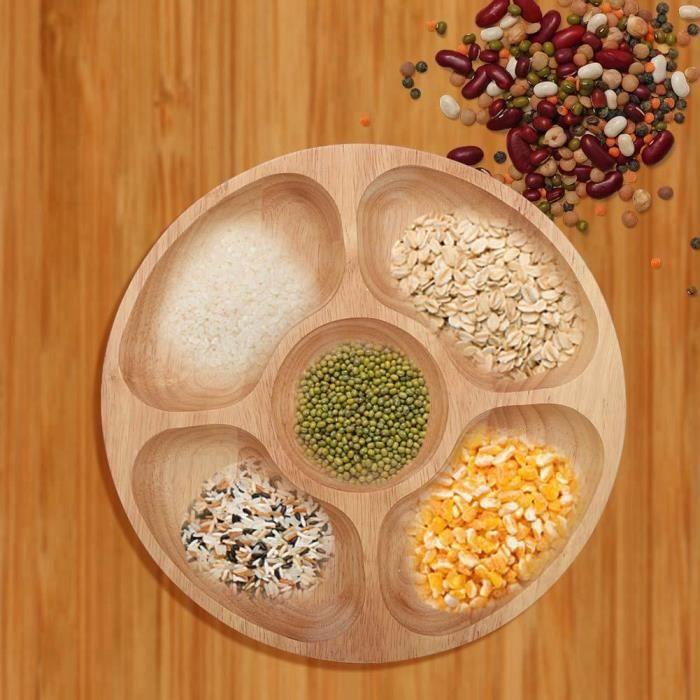VINGVO Plat de sous-grille Plateau en bois de forme ronde en forme de nourriture pour assiette à dessert