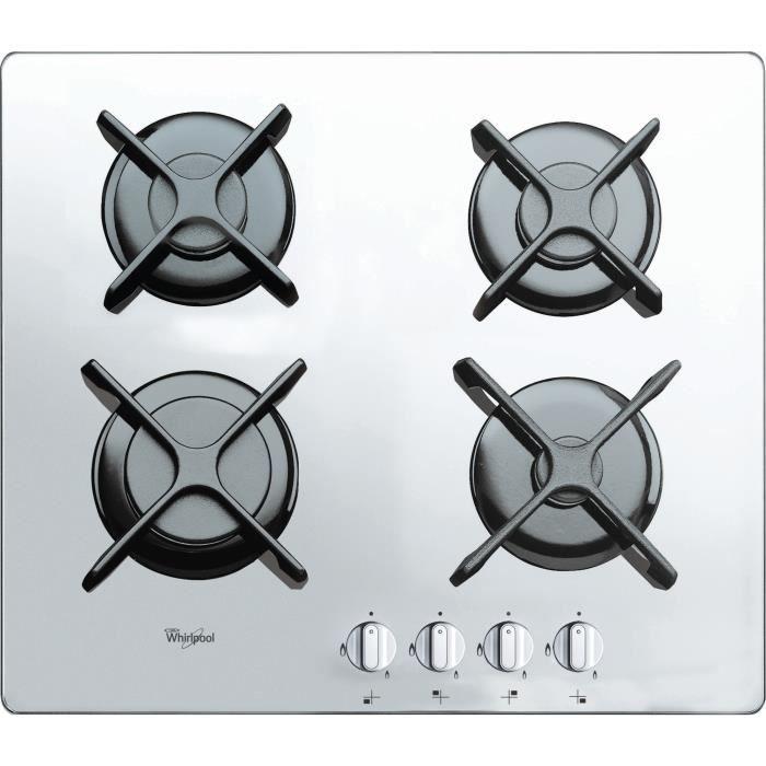 Whirlpool AKT 6400-WH, Intégré, Cuisinière à gaz, Verre, Blanc, Rotatif, En haut devant