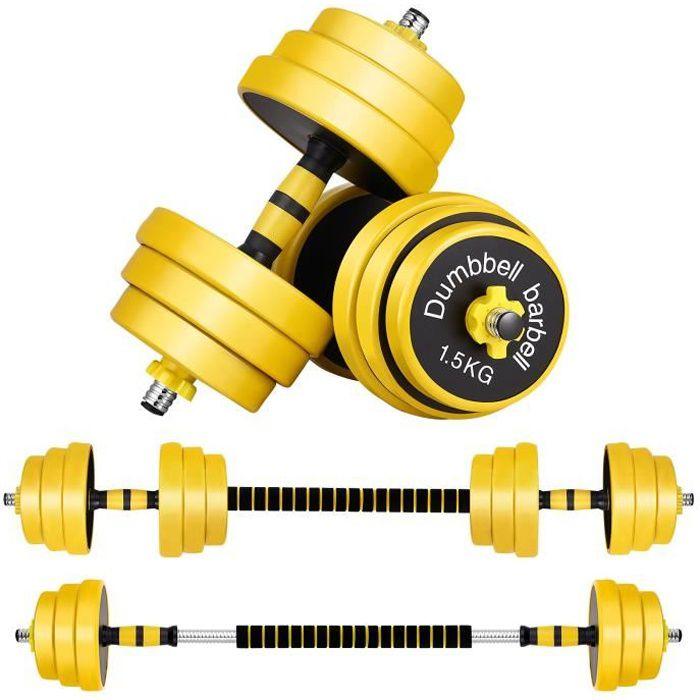 Clispeed kit haltères 25 kg musculation Sport haltère reglable avec barres