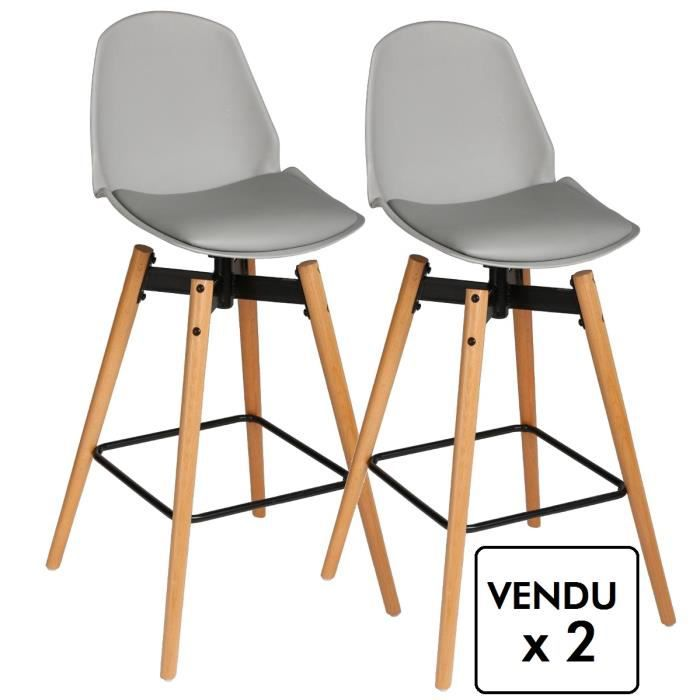 lot de 2 chaises de bar style scandinave coloris gris achat vente tabouret de bar gris. Black Bedroom Furniture Sets. Home Design Ideas