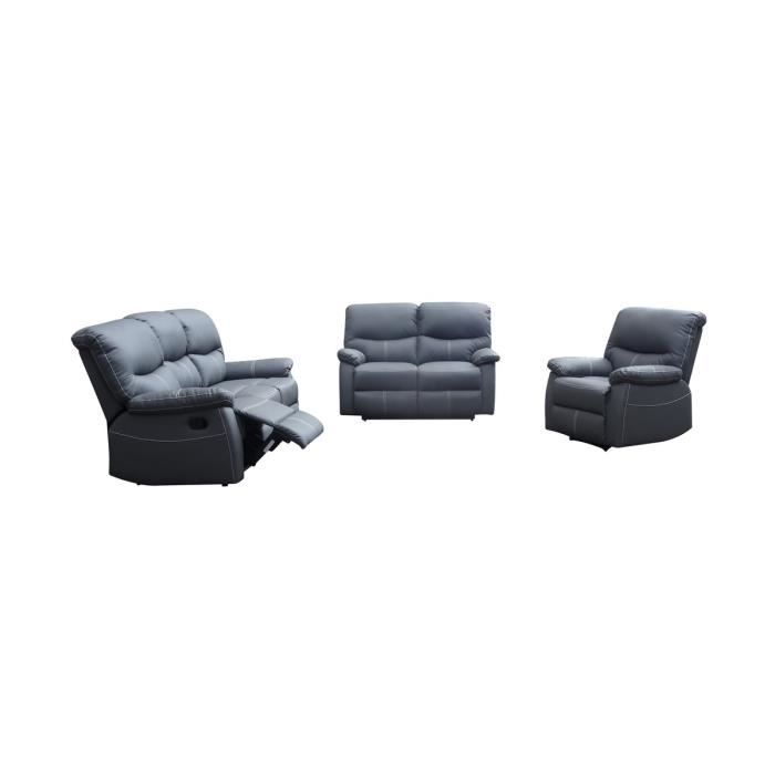 canap relax 3 2 1 places gris dina achat vente canap sofa divan cdiscount. Black Bedroom Furniture Sets. Home Design Ideas